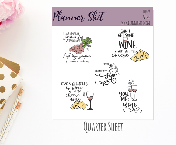 Quarter Sheet Planner Stickers - Wine
