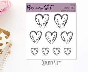 Quarter Sheet Planner Stickers - Romance Hearts