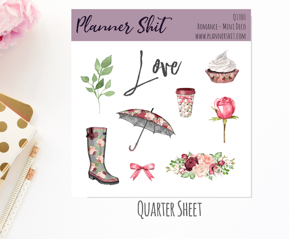 Quarter Sheet Planner Stickers - Romance - Mini Deco