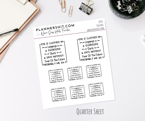 Quarter Sheet Planner Stickers - Leggings