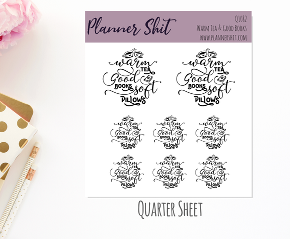 Quarter Sheet Planner Stickers - Warm Tea & Good Books