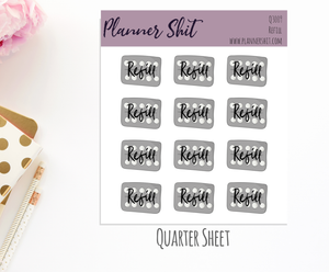 Quarter Sheet Planner Stickers - Refill
