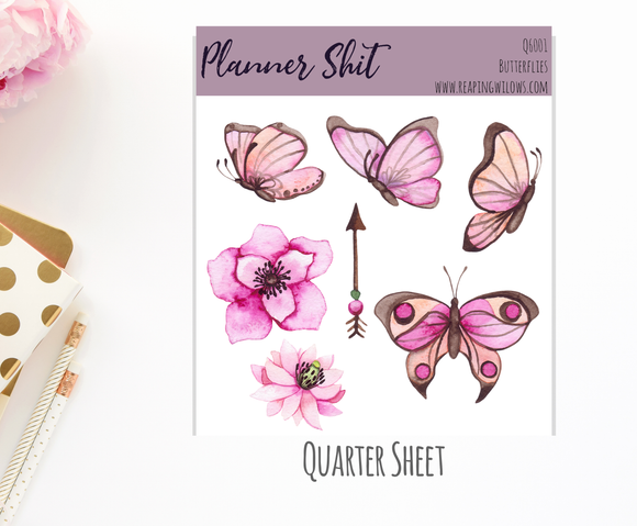 Quarter Sheet Planner Stickers - Butterflies