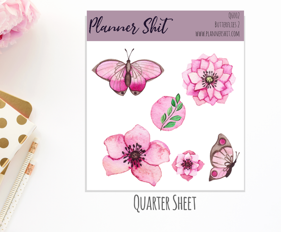 Quarter Sheet Planner Stickers - Butterflies 2