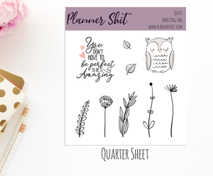 Quarter Sheet Planner Stickers - Amazing Owl