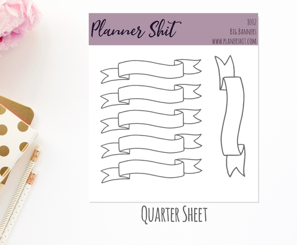 Quarter Sheet Planner Stickers - Big Banners