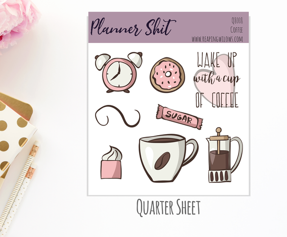 Quarter Sheet Planner Stickers - Coffee