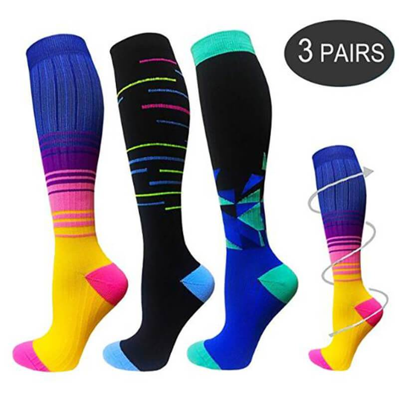 Gradient  Compression Socks for Man & Woman 20-30 mmHG-3 Pairs | Fuelmefoot