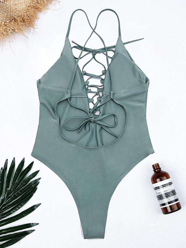 Sexy Cross Back Hollow Out V Neck Swimwear | Fuelmefoot