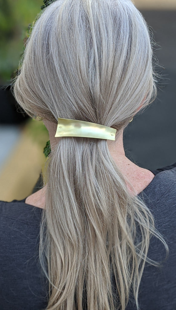 Sculptural Brass Barrette - Medium