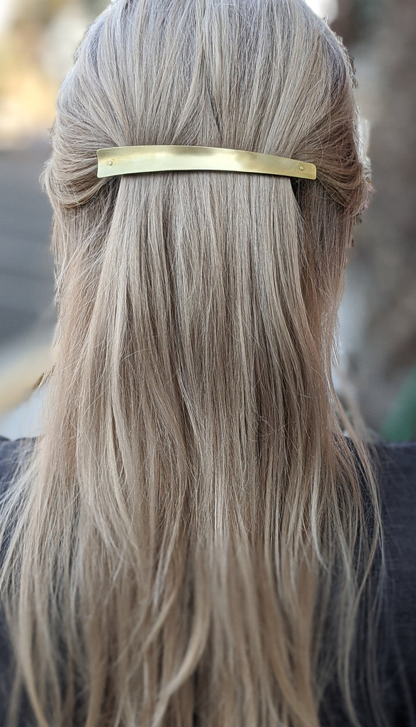 Sculptural Brass Barrette - Long