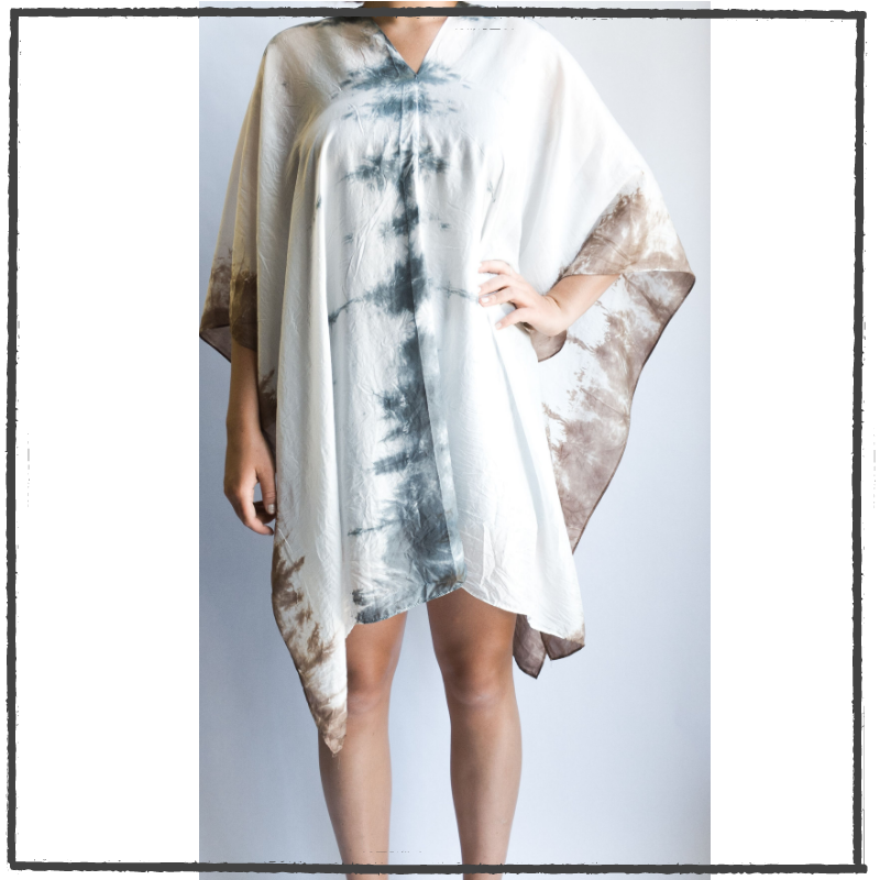 Summer Silk Poncho - Denim + Moca
