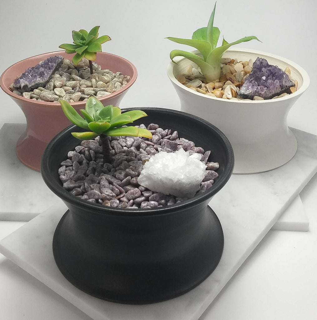 Porcelain Planter with Gems - White - Black - Pink