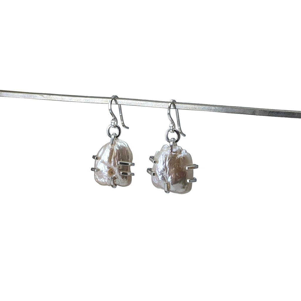 Prong Set Pearl Drop Earrings