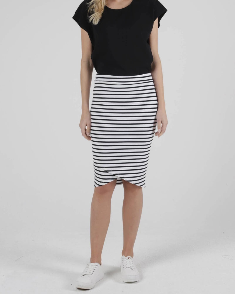 Betty Basic Siri Skirt - White Black Stripe