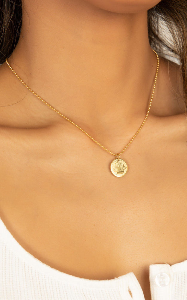 Peta + Jain Sarahi Gold Small Medallion Necklace
