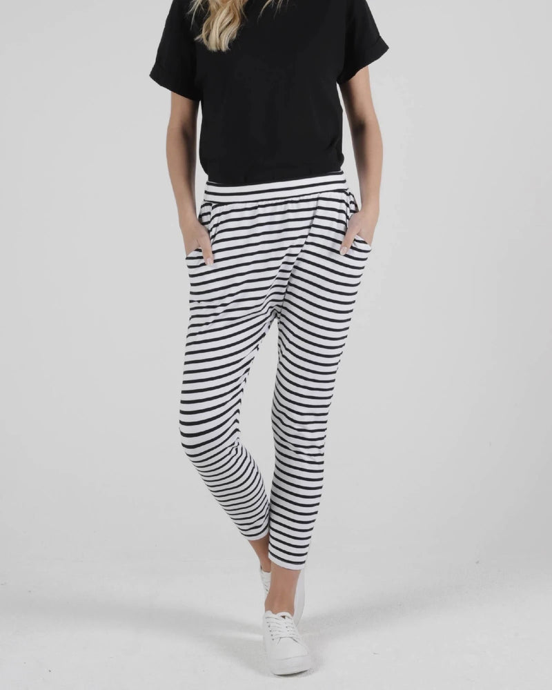 Betty Basic Lola Pant - White Black Stripe