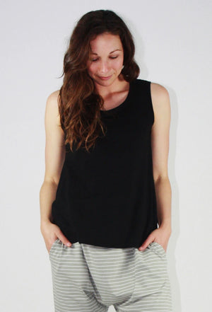 One Ten Willow Step Hem Tank - Black