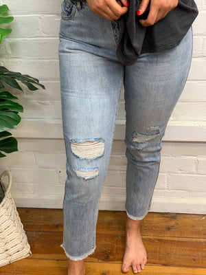 Rusty Ex Boyfriend Jean Ripped -Dust Blue