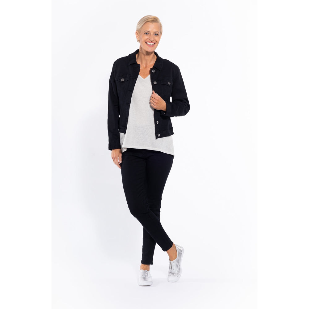 Cafè Lattè Stretch Cotton Jacket - Black