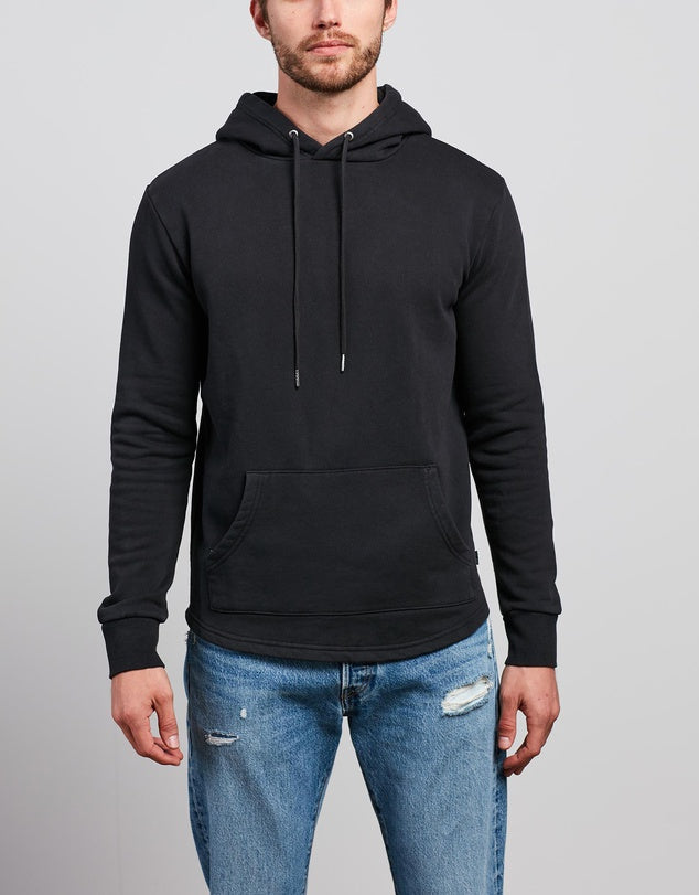 Silent Theory Curved Hem Hoody - Washed Black