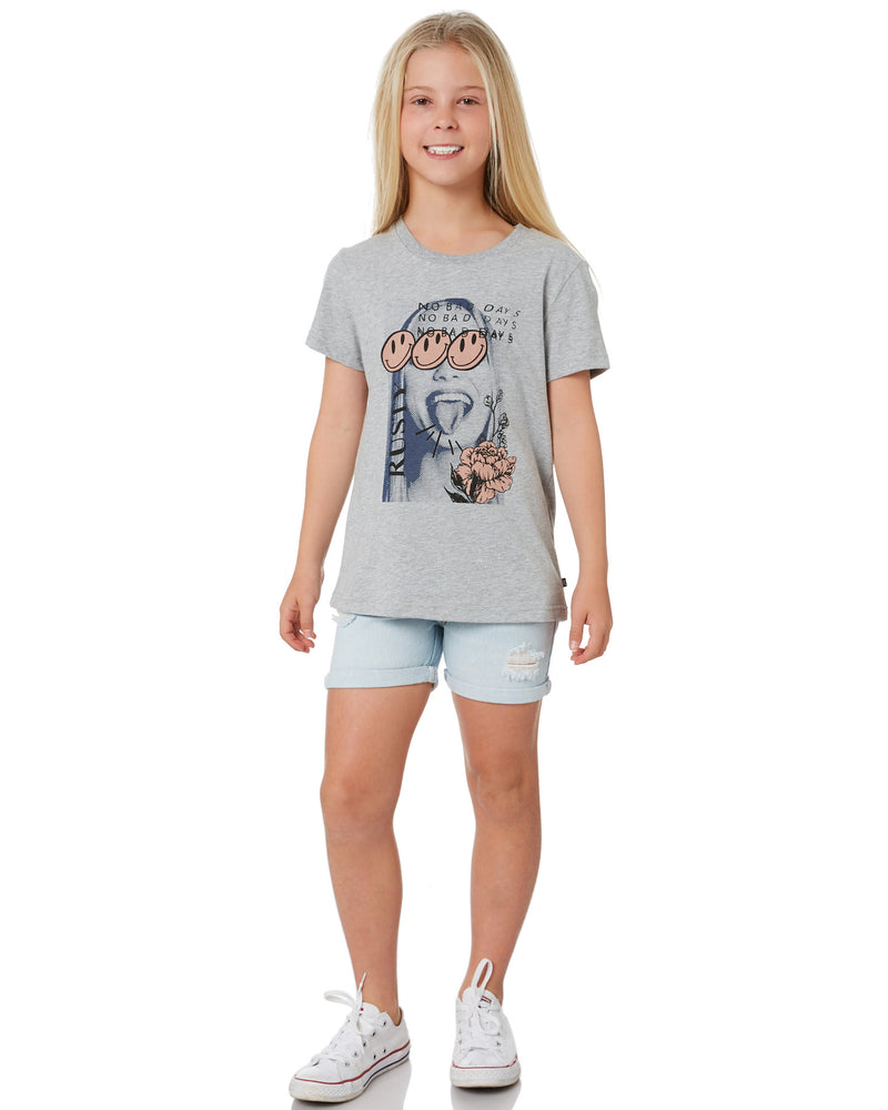 Rusty Good Days Short Sleeve Tee Girls - Grey Marle