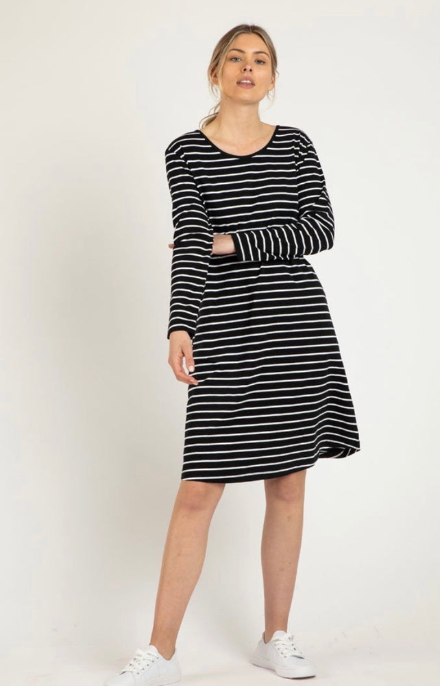 Betty Basics Ellie Dress - Black/White Stripe