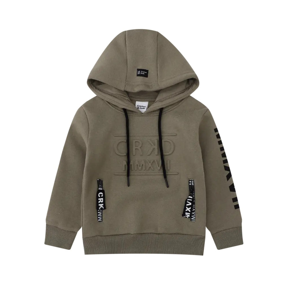 Cracked Soda Play Hard Embossed Hoodie - Olive