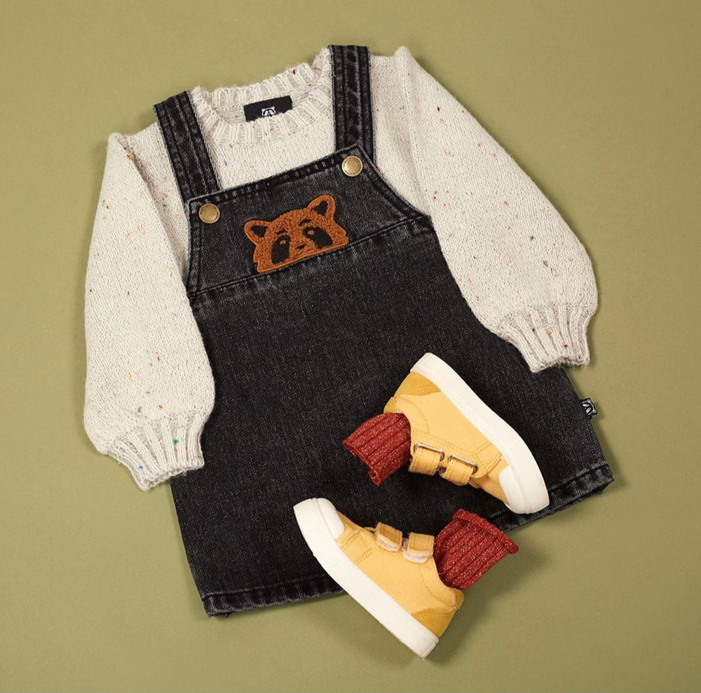 Animal Crackers Province Pinafore - Black Denim