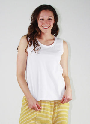 One Ten Willow Step Hem Tank - White