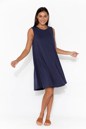 One Ten Willow Swing Tank Dress - Navy