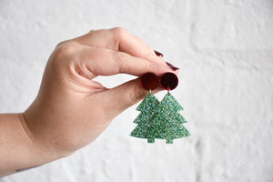 Pink Nade Christmas Tree Earrings- Red Mirror / Green Glitter