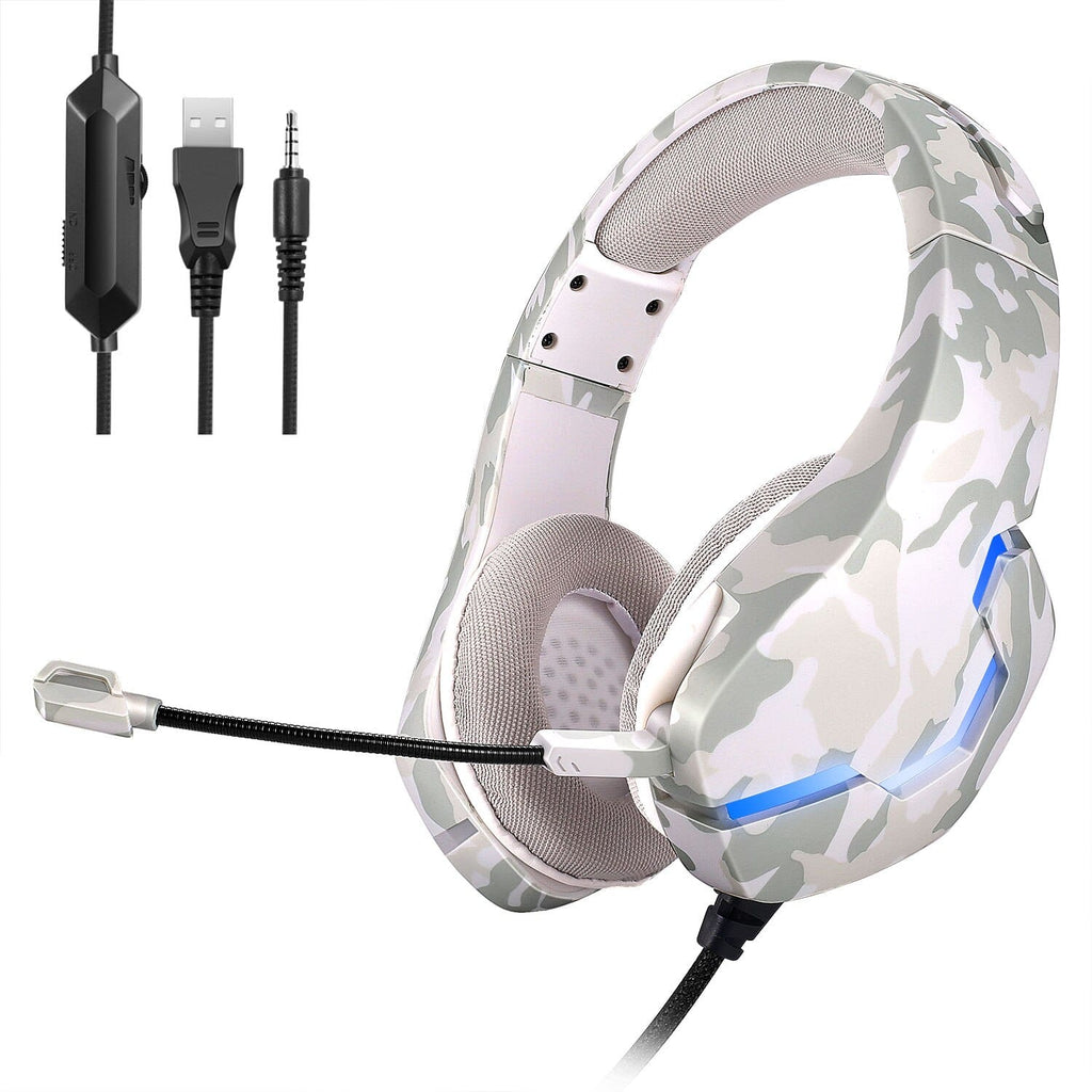 Camouflage Gaming Headphone for PS4 Wired Glowing Earphone Over-Ear Headset Deep Bass Stereo Casque with Mic for PS4 Xbox PC Laptop
