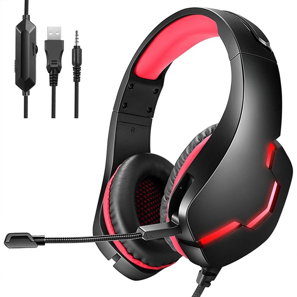 Gaming Headset Over Ear Headphones with Mic LED Light for Xbox One PS4 PC Wired Earphone HiFi Headphones