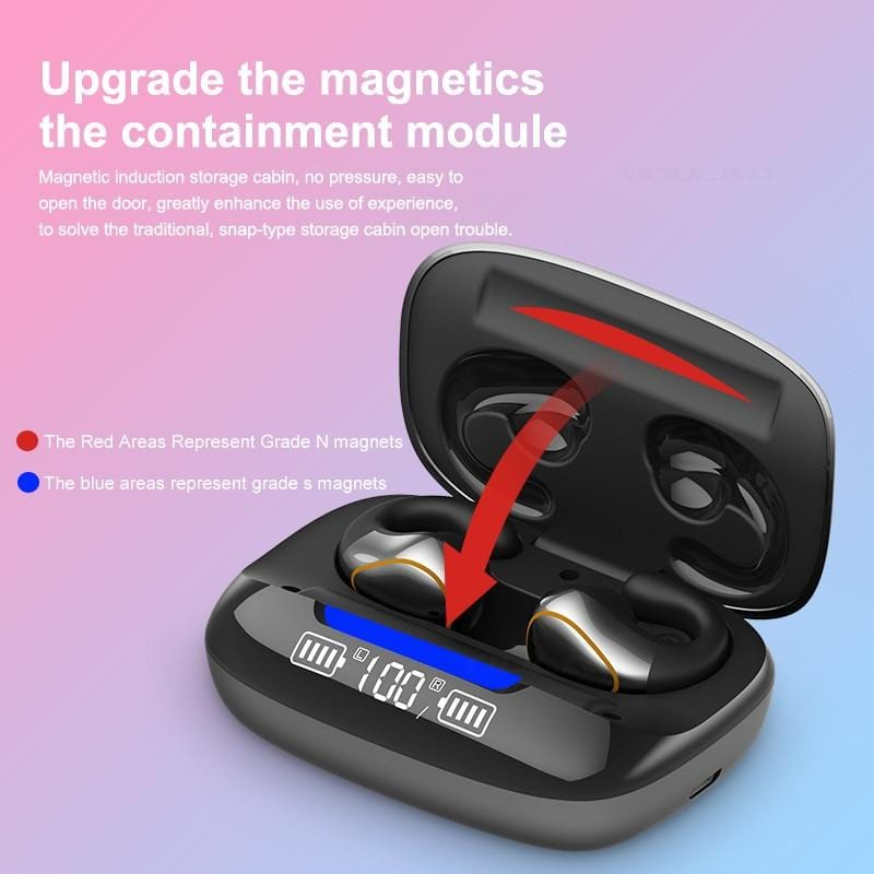 Wireless Headphones Bone Conduction Mini Bluetooth 5.0 Earphone Music Sport Handsfree Headsets with Microphone Touch Control