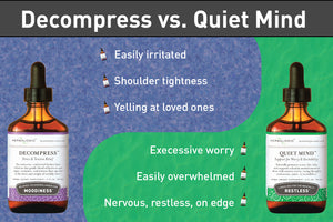 infographic to help choose between Decompress and Quiet Mind herb formulas