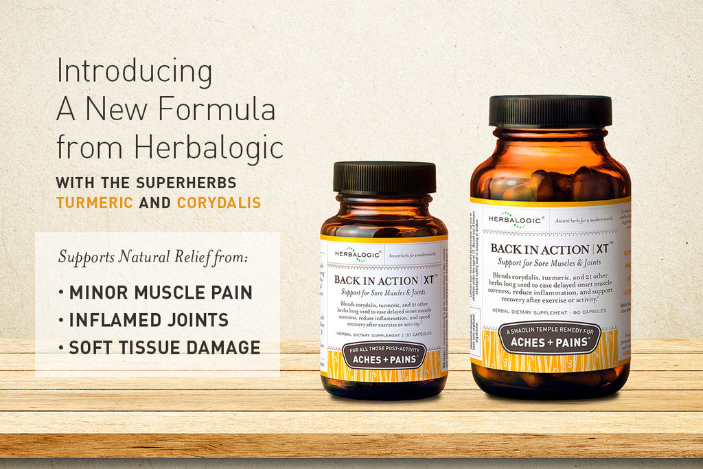Turmeric and Corydalis are now the heroes in Back in Action XT from Herbalogic. This herbal formula for minor aches and pains combines 24 ingredients for natural pain relief long used in traditional healing.