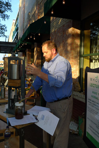 Dave Jones teaches a group of herb enthusiasts at Whole Foods Gateway store in Austin, Texas, how to make herbal tinctures the Herbalogic way.