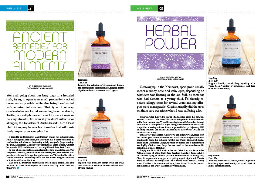 Herbalogic Formulas for Sleep, Energy, Stress, and Allergy Support Featured in L Style G Style Magazine