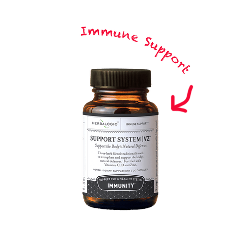 Herbalogic Support System VZ with Vitamin C Vitamin D3 and Zinc for Immune System Support