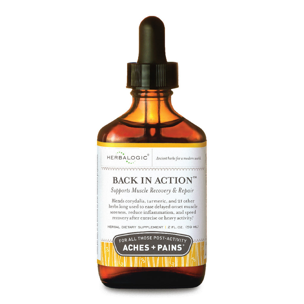 Sore Muscle Relief Formula: Back in Action Herb Drops from Herbalogic - 1 oz. - Natural Anti-Inflammatory Remedies