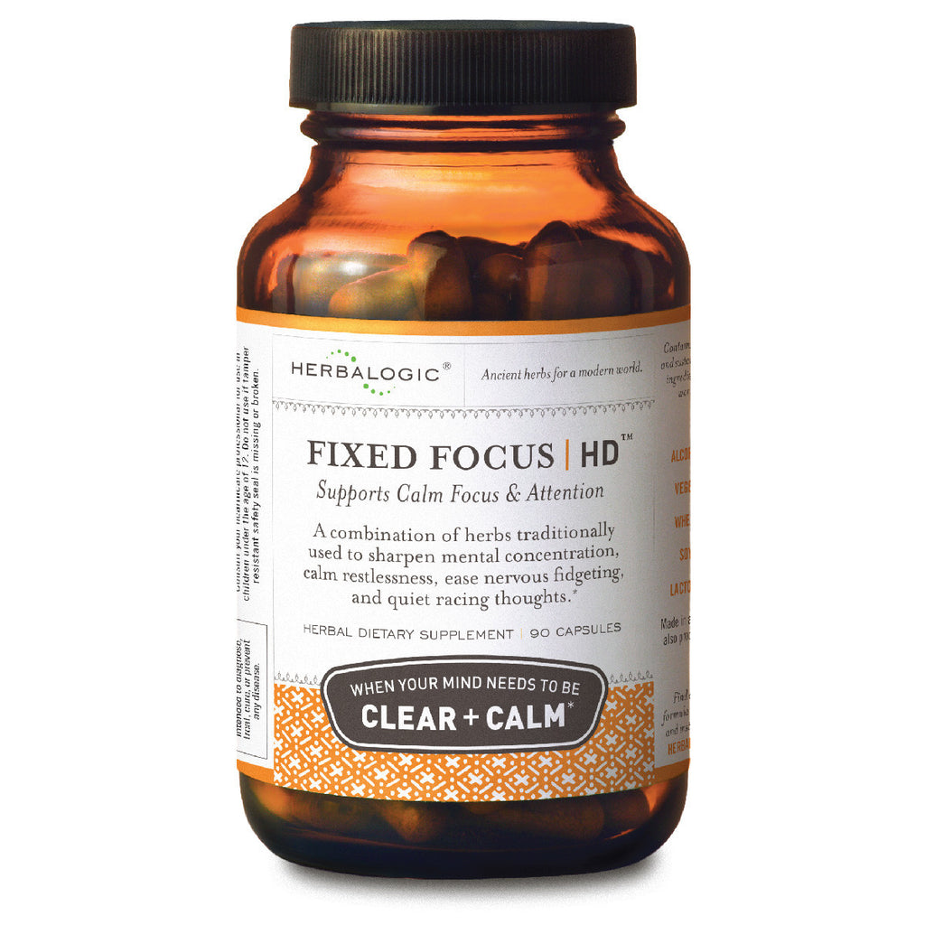 Support for Attention, Focus, and Calm – Herbal Supplement - Fixed Focus HD Capsules from Herbalogic - Promotes Calm Mental Concentration - 90 ct. Capsules