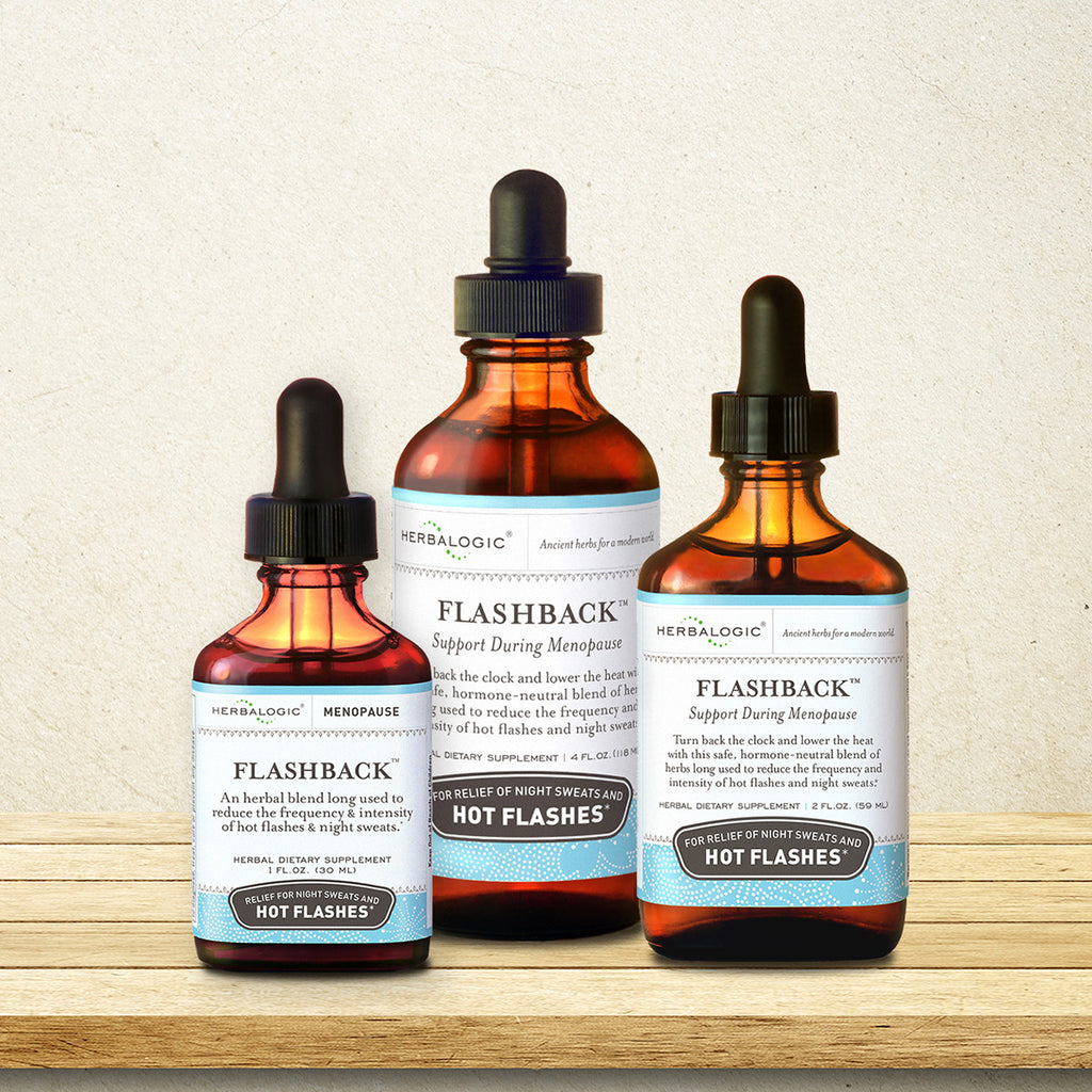 Flashback from Herbalogic, a modern plant-based hot flash remedy based on Chinese herbal treatments for hot flashes, hot flushes, and night sweats during menopause.