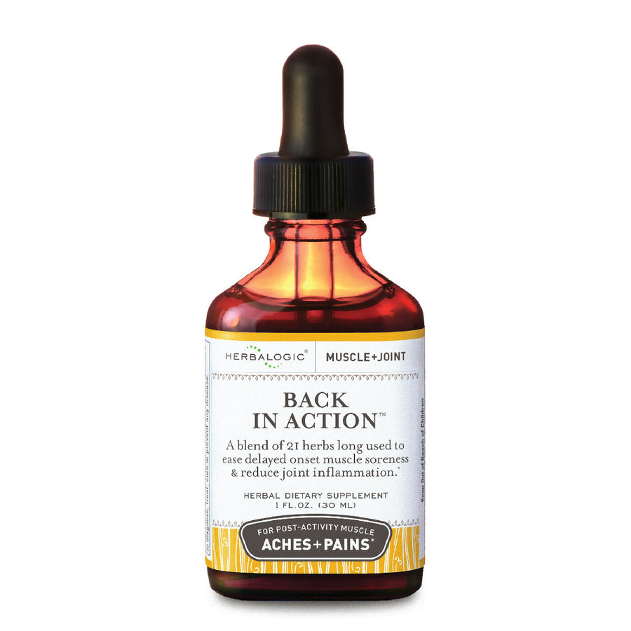 Muscle Pain and Joint Support Formula – Back in Action herbal tinctures are available in three sizes and contain anti-inflammatory herbs long used to relieve muscle soreness and aching joints caused by exercise, overwork, or injury.