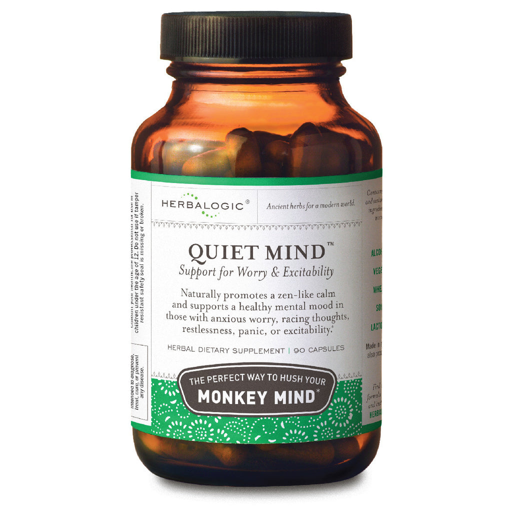 Herbs for Anxious, Racing Thoughts and Frayed Nerves - Herbs for Anxiety Support - Quiet Mind Capsules - Help to Relax and Calm Your Monkey Mind