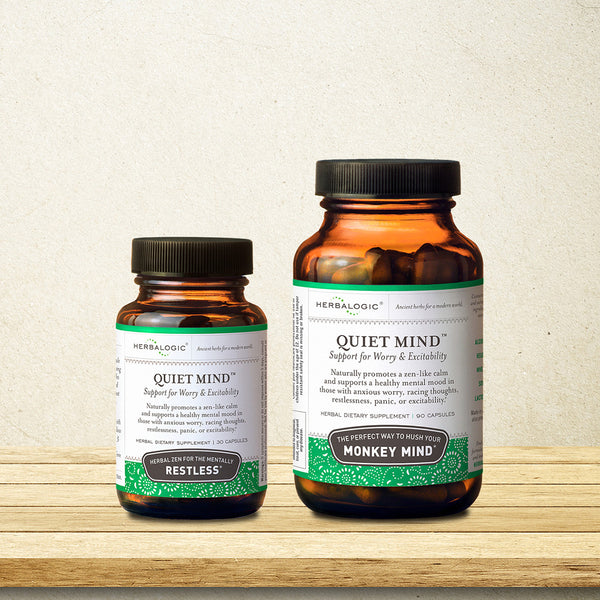 Herbs for Racing Thoughts and Nerves - Herbs for Anxiety Support - Quiet Mind Capsules - 90 ct. - Help to Relax and Calm Your Monkey Mind - Herbal Dietary Supplement