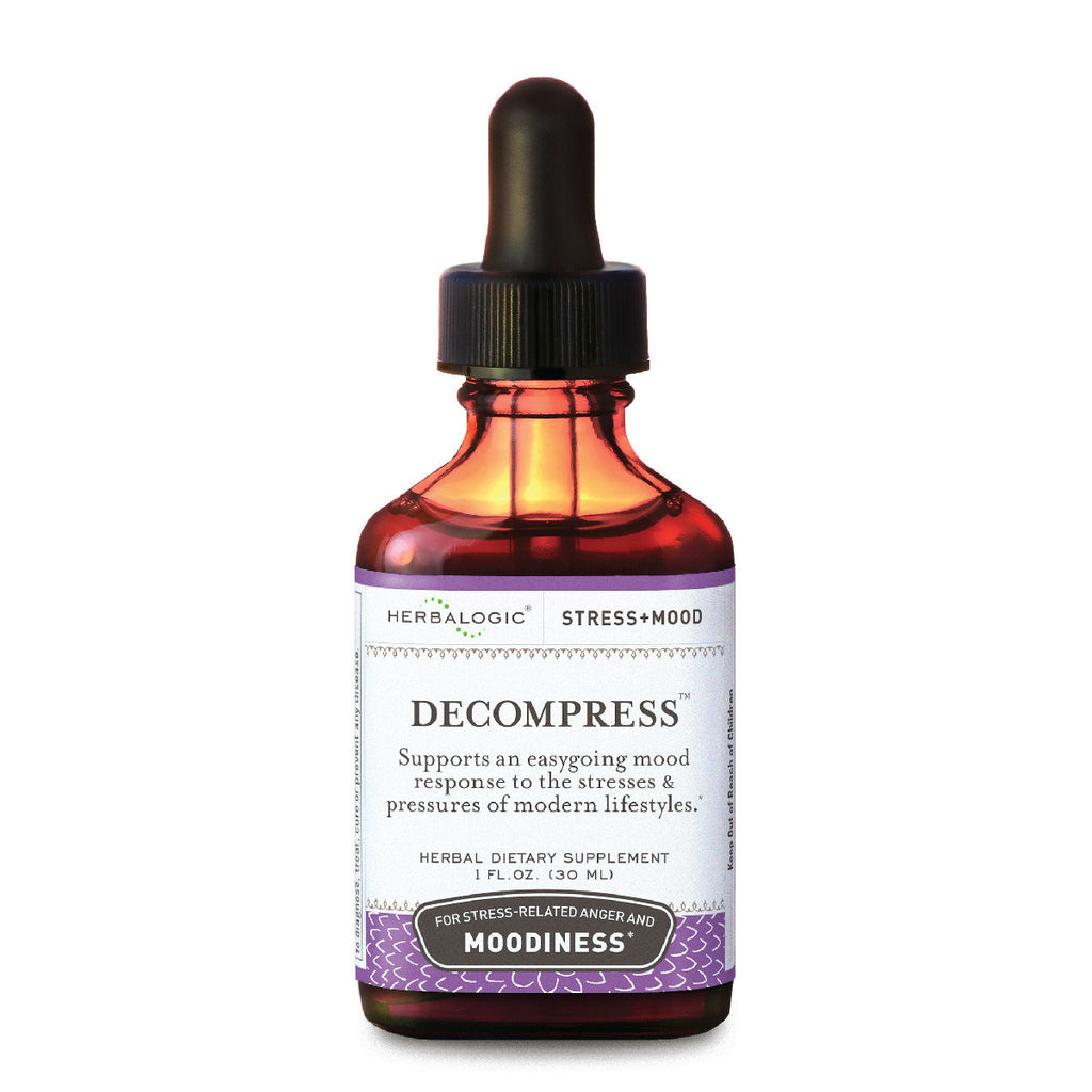 Herbs for Stress Relief and Tension Headaches: Decompress Herb Drops from Herbalogic - 1 oz.