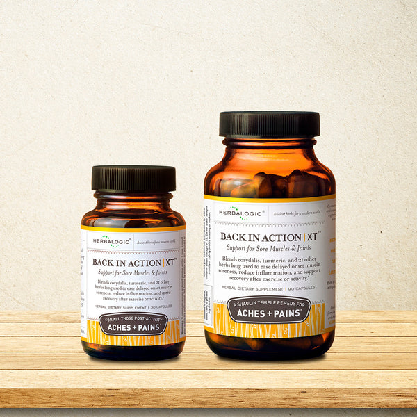 Back in Action capsules contain whole turmeric, corydalis root, and 24 other herbal ingredients traditionally used to relieve pain and inflammation.