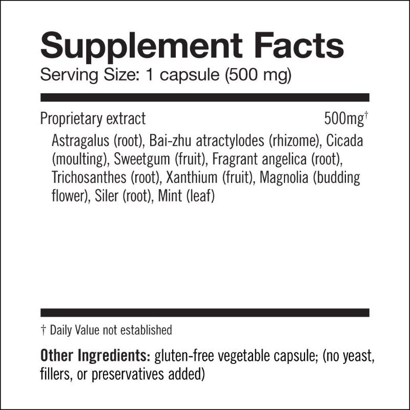 Supplement Facts - Cedar Fever Remedy – Natural Nose and Sinus Support for Seasonal Pollen, Mold, Dust, and Vog - Easy Breather Herb Capsules from Herbalogic