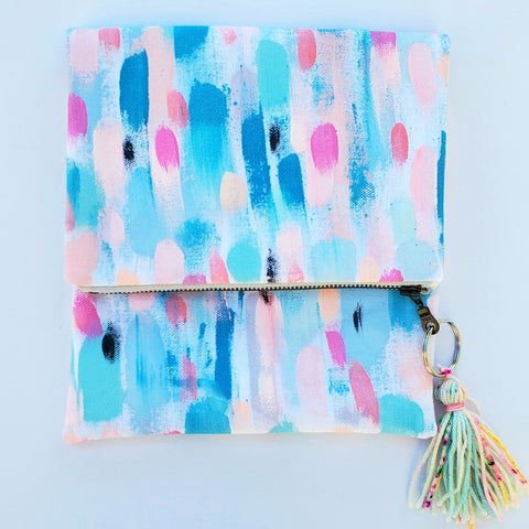 """Skinny Dip"" Hand Painted Fold Over Clutch"